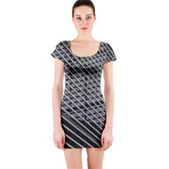 Abstract Architecture Pattern Short Sleeve Bodycon Dress