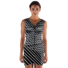 Abstract Architecture Pattern Wrap Front Bodycon Dress