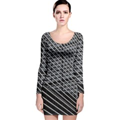 Abstract Architecture Pattern Long Sleeve Velvet Bodycon Dress