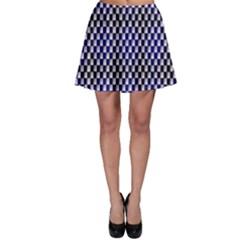 Squares Blue Background Skater Skirt