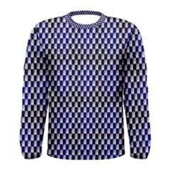 Squares Blue Background Men s Long Sleeve Tee