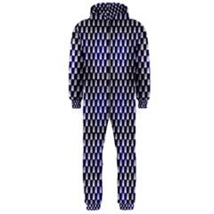 Squares Blue Background Hooded Jumpsuit (men)