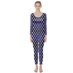 Squares Blue Background Long Sleeve Catsuit