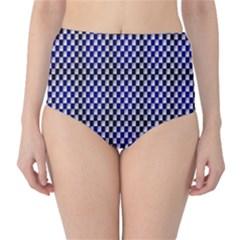 Squares Blue Background High Waist Bikini Bottoms