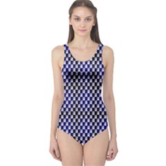 Squares Blue Background One Piece Swimsuit