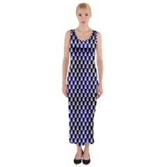 Squares Blue Background Fitted Maxi Dress