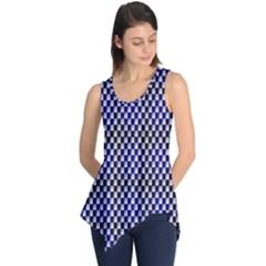 Squares Blue Background Sleeveless Tunic