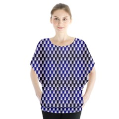 Squares Blue Background Blouse