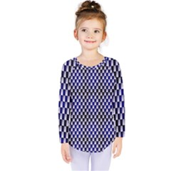 Squares Blue Background Kids  Long Sleeve Tee