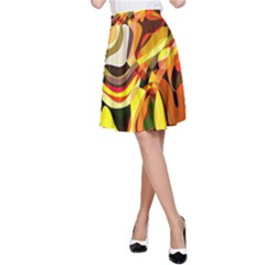 Colourful Abstract Background Design A Line Skirt