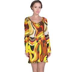 Colourful Abstract Background Design Long Sleeve Nightdress