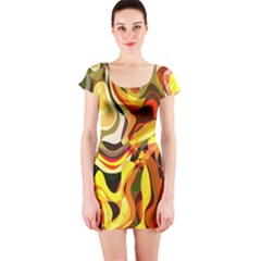Colourful Abstract Background Design Short Sleeve Bodycon Dress