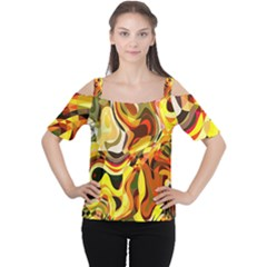 Colourful Abstract Background Design Women s Cutout Shoulder Tee