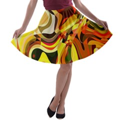 Colourful Abstract Background Design A Line Skater Skirt