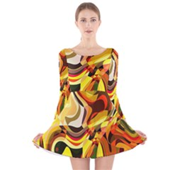 Colourful Abstract Background Design Long Sleeve Velvet Skater Dress