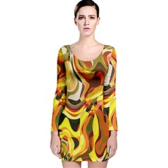 Colourful Abstract Background Design Long Sleeve Velvet Bodycon Dress