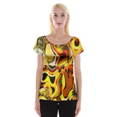 Colourful Abstract Background Design Women s Cap Sleeve Top