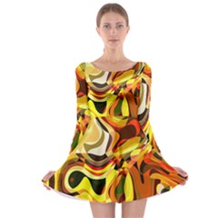 Colourful Abstract Background Design Long Sleeve Skater Dress