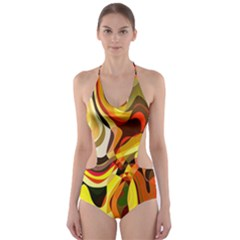 Colourful Abstract Background Design Cut Out One Piece Swimsuit