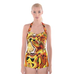Colourful Abstract Background Design Boyleg Halter Swimsuit