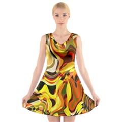 Colourful Abstract Background Design V Neck Sleeveless Skater Dress
