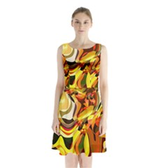 Colourful Abstract Background Design Sleeveless Chiffon Waist Tie Dress