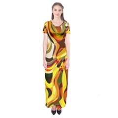 Colourful Abstract Background Design Short Sleeve Maxi Dress