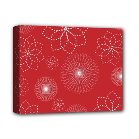 Floral Spirals Wallpaper Background Red Pattern Deluxe Canvas 14  x 11