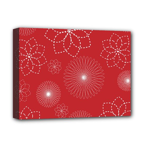 Floral Spirals Wallpaper Background Red Pattern Deluxe Canvas 16  x 12