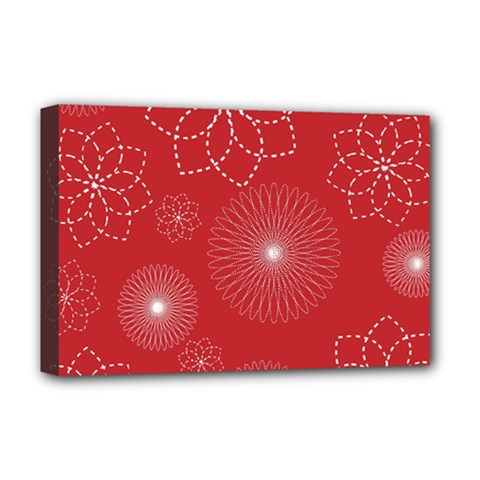 Floral Spirals Wallpaper Background Red Pattern Deluxe Canvas 18  X 12