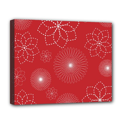 Floral Spirals Wallpaper Background Red Pattern Deluxe Canvas 20  x 16