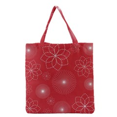 Floral Spirals Wallpaper Background Red Pattern Grocery Tote Bag