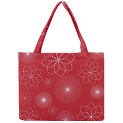 Floral Spirals Wallpaper Background Red Pattern Mini Tote Bag