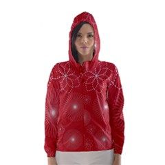 Floral Spirals Wallpaper Background Red Pattern Hooded Wind Breaker (women)