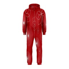 Floral Spirals Wallpaper Background Red Pattern Hooded Jumpsuit (Kids)