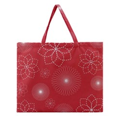 Floral Spirals Wallpaper Background Red Pattern Zipper Large Tote Bag