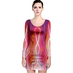 Fire Flames Abstract Background Long Sleeve Bodycon Dress