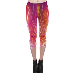 Fire Flames Abstract Background Capri Leggings