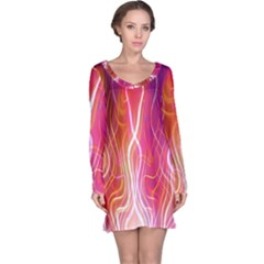Fire Flames Abstract Background Long Sleeve Nightdress
