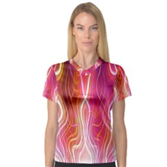 Fire Flames Abstract Background Women s V Neck Sport Mesh Tee