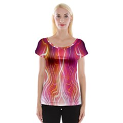 Fire Flames Abstract Background Women s Cap Sleeve Top