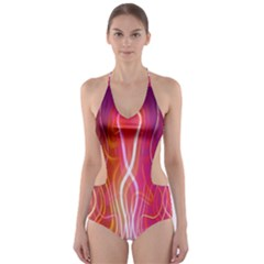 Fire Flames Abstract Background Cut Out One Piece Swimsuit
