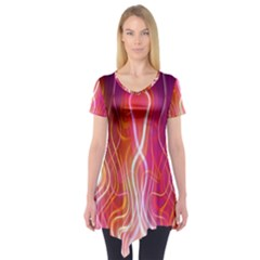 Fire Flames Abstract Background Short Sleeve Tunic