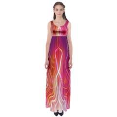 Fire Flames Abstract Background Empire Waist Maxi Dress