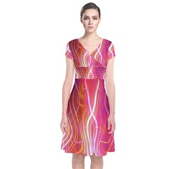 Fire Flames Abstract Background Short Sleeve Front Wrap Dress