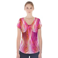 Fire Flames Abstract Background Short Sleeve Front Detail Top