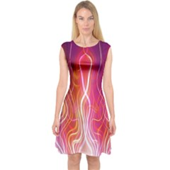 Fire Flames Abstract Background Capsleeve Midi Dress