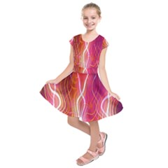 Fire Flames Abstract Background Kids  Short Sleeve Dress