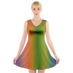 Colorful Stipple Effect Wallpaper Background V Neck Sleeveless Skater Dress