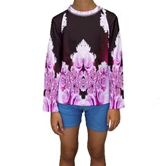 Fractal In Pink Lovely Kids  Long Sleeve Swimwear